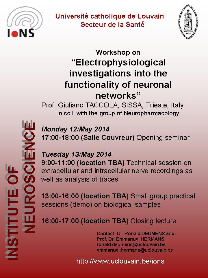 Locandina del workshop tenuto da Giuliano Taccola all'UCL