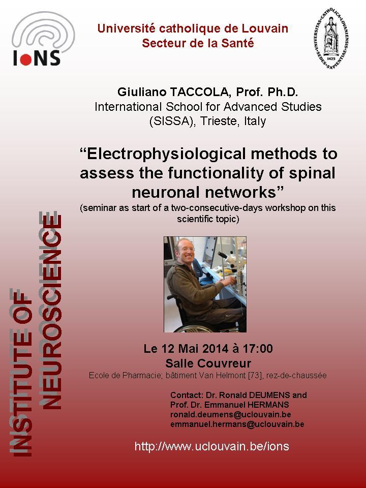 Locandina del seminario tenuto da Giuliano Taccola all'UCL
